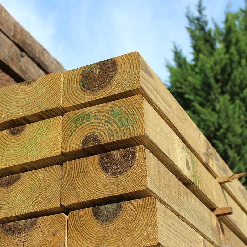 Planed and Bevelled Treated Softwood Garden Sleepers - Pallet